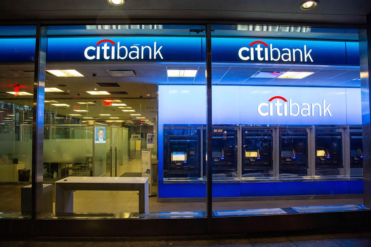 Bunch of ATMs. A Citibank bank branch at 6th Avenue in New York City, USA as seen during the night with ATM and illuminated logo. Citibank financial institution is the consumer division of financial services multinational Citigroup, founded in 1812 as City Bank of New York.  NY, United States of America. (Photo by Nicolas Economou/NurPhoto via Getty Images)