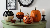 """<p>Jack-o'-lanterns are the best part of <a href=""""https://www.womansday.com/home/decorating/g1279/easy-halloween-decorations/"""" rel=""""nofollow noopener"""" target=""""_blank"""" data-ylk=""""slk:Halloween decorating"""" class=""""link rapid-noclick-resp"""">Halloween decorating</a>, but if your carving skills are subpar, you're worried about your kids handling sharp tools, or you simply don't have the time to deal with scooping out pumpkin guts, you can still create a winning pumpkin for Halloween. All you need is an uncarved pumpkin, little inspiration, and a bucket full of craft supplies.</p><p>From <a href=""""https://www.womansday.com/home/decorating/g1902/painted-pumpkins-ideas/"""" rel=""""nofollow noopener"""" target=""""_blank"""" data-ylk=""""slk:painted pumpkins"""" class=""""link rapid-noclick-resp"""">painted pumpkins</a> that would fit right in at a modern Halloween wedding, to funny pumpkin faces that kids will love creating, adults and children alike will love these easy, no-carve pumpkin decorating ideas. So, what can you use to decorate a pumpkin? The sky's the limit: pom poms, paint, glitter, fake spiders, cobwebs, twinkle lights, rickrack — there's pretty much nothing you can't use to decorate your gourds this fall. Ahead you'll find all kinds of ideas for decorating big and mini pumpkins, whether you're up for some light carving work or just want to keep it simple with a few well-placed stickers. Up for more <a href=""""https://www.womansday.com/home/crafts-projects/g2488/simple-halloween-crafts/"""" rel=""""nofollow noopener"""" target=""""_blank"""" data-ylk=""""slk:Halloween craft ideas"""" class=""""link rapid-noclick-resp"""">Halloween craft ideas</a>? Check out our favorite <a href=""""https://www.womansday.com/home/crafts-projects/g2490/halloween-kids-crafts/"""" rel=""""nofollow noopener"""" target=""""_blank"""" data-ylk=""""slk:Halloween crafts for kids"""" class=""""link rapid-noclick-resp"""">Halloween crafts for kids</a>, our free <a href=""""https://www.womansday.com/home/crafts-projects/how-to/g303/10-pumpkin-perfect-patterns-20702/"""" rel=""""nofoll"""