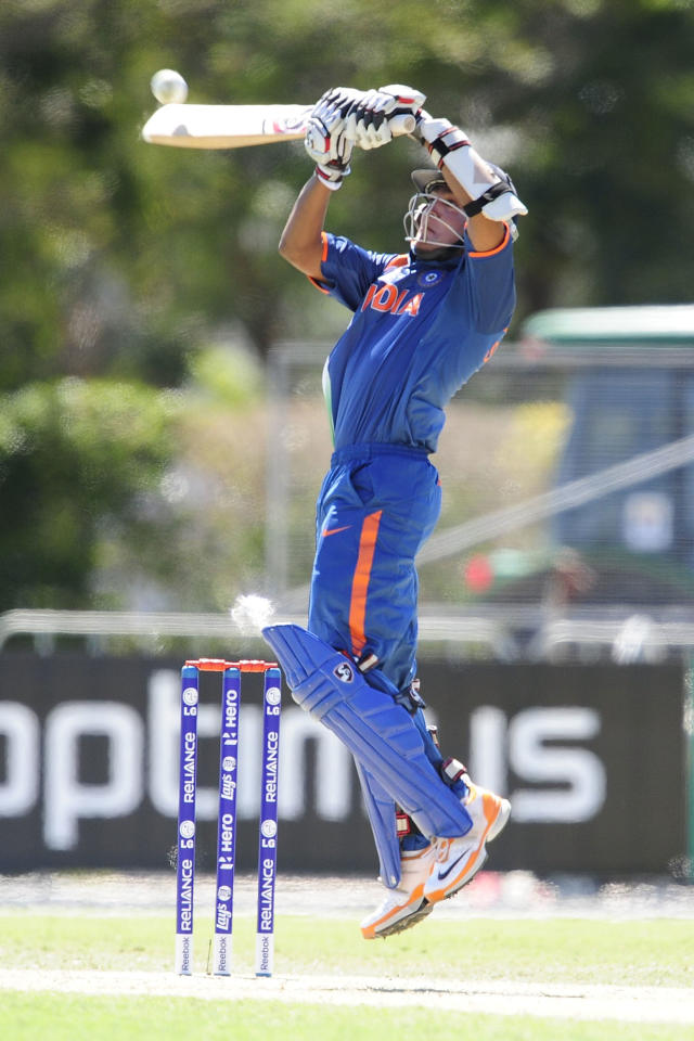 TOWNSVILLE, AUSTRALIA - AUGUST 12:  Smit Patel of India bats during the ICC U19 Cricket World Cup 2012 match between the West Indies and India at Tony Ireland Stadium on August 12, 2012 in Townsville, Australia.  (Photo by Ian Hitchcock-ICC/Getty Images)