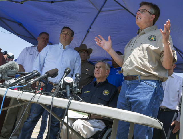 <p>Sen. Ted Cruz, second from left, Texas Governor Greg Abbott, second from right, and Lt. Governor Dan Patrick, right, speak at a press conference in the wake of a school shooting at Santa Fe High School on Friday, May 18, 2018 in Santa Fe, Texas. (PhotoL Stuart Villanueva/The Galveston County Daily News via AP) </p>
