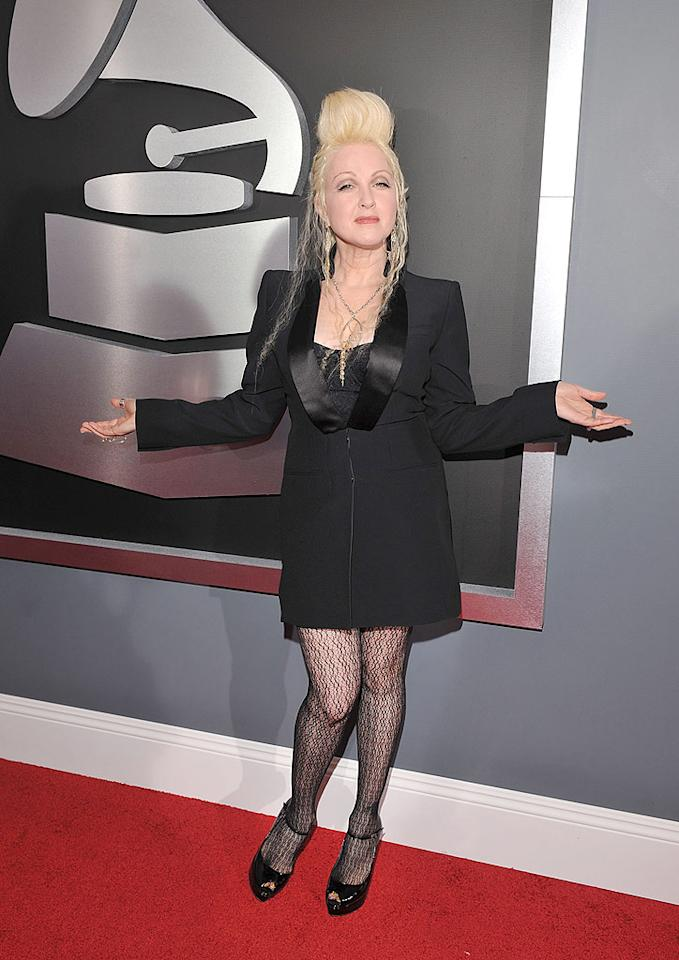 """Bad: We love us some Cyndi Lauper, but the """"Girls Just Want to Have Fun"""" singer's hideous hairstyle was the worst of the night. Lester Cohen/<a href=""""http://www.wireimage.com"""" target=""""new"""">WireImage.com</a> - February 8, 2009"""