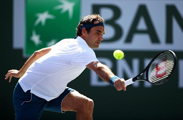 Seeking six: Five-time champion Roger Federer on the way to a quarter-final victory over Pland's Hubert Hurkacz at the ATP Indian Wells Masters (AFP Photo/CLIVE BRUNSKILL)