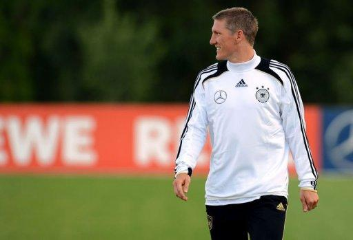 Germany's midfielder Bastian Schweinsteiger takes part in a training session