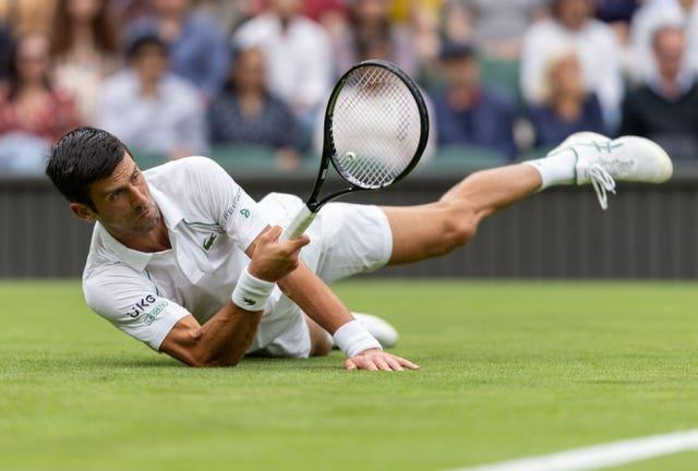 Novak Djokovic fell several times during his first-round match on Monday