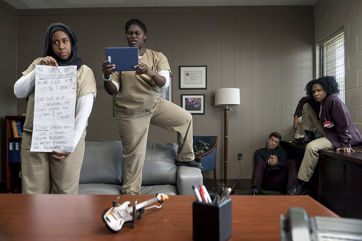 <p></p><p>Amanda Stephen as Alison, Danielle Brooks as Taystee and Vicky Jeudy as Janae in Netflix's <i>Orange Is The New Black</i>.<br /></p><p>(Credit: Netflix) </p><p></p>