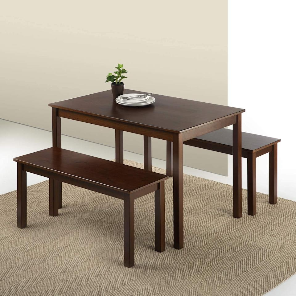Zinus Espresso Wood Dining Table with 2 Benches / 3 Piece Set. Image via Amazon.