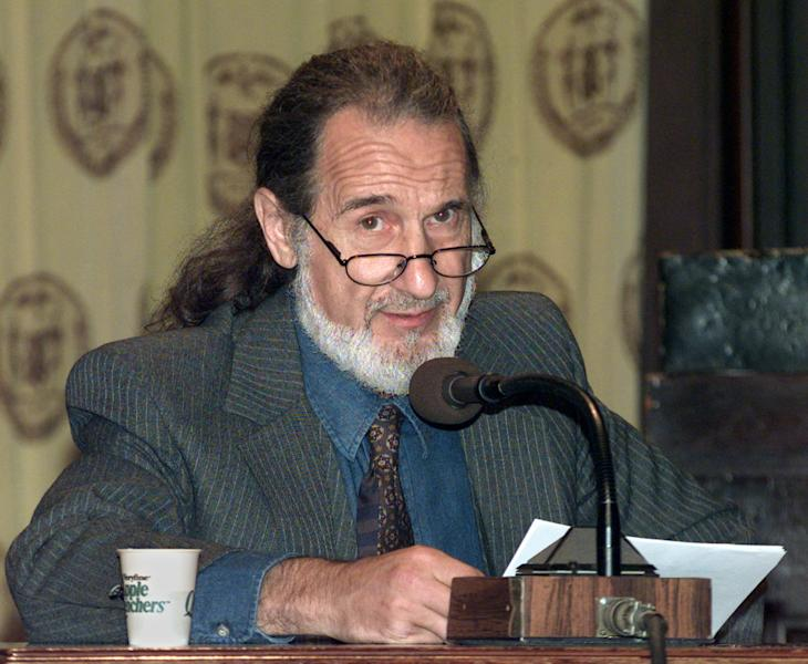 FILE - In this Sept. 23, 1997 file photo, former New York City Detective Frank Serpico testifies at a City Council hearing in New York. Things haven't changed much since Serpico broke the NYPD's code of silence more than 40 years ago. Police officers are still encouraged to turn a blind eye to wrongdoing within their ranks and never question authority, or else face harassment by peers and punishment by superiors. (AP Photo/Kathy Willens, File)