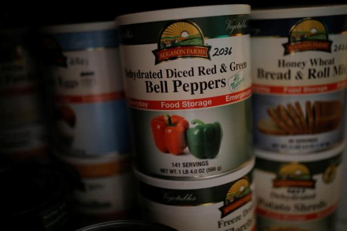Emergency food is stocked in an underground bunker at a survival camp