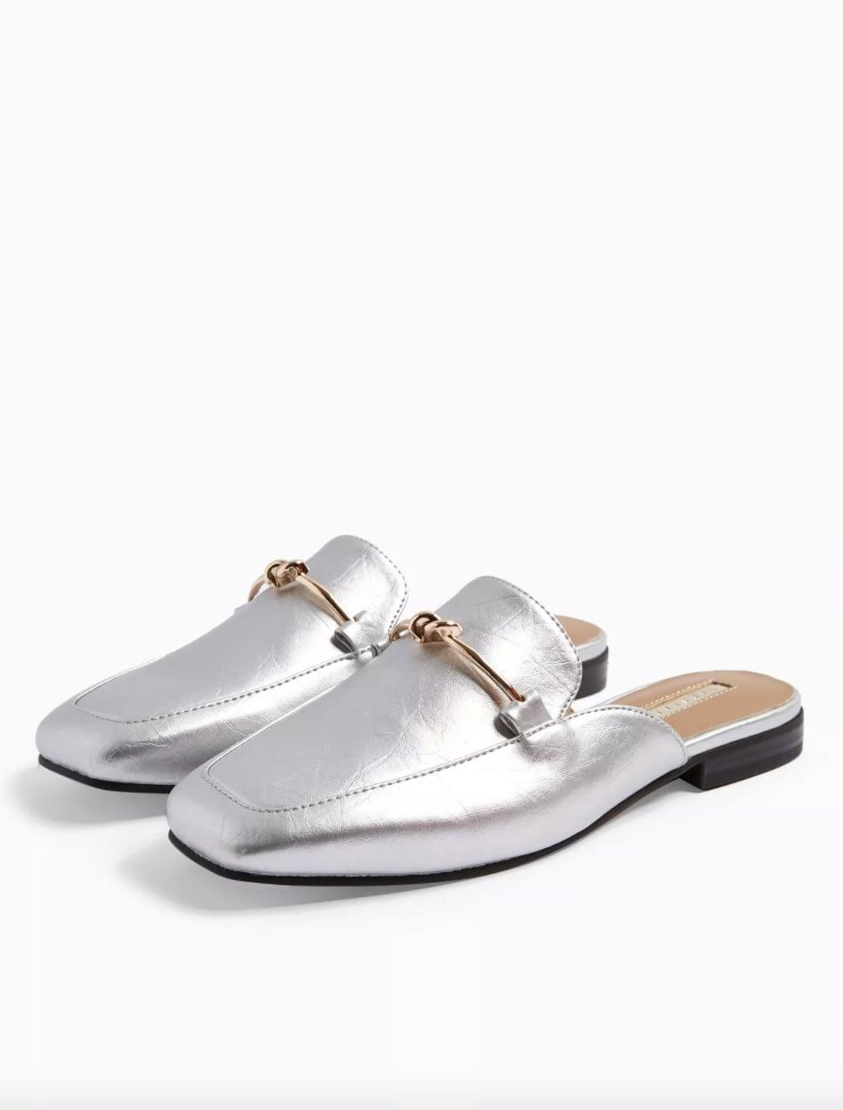 <p>Prepare to get lots of compliments on these <span>Topshop ADA Silver Mule Loafers</span> ($28, originally $55).</p>