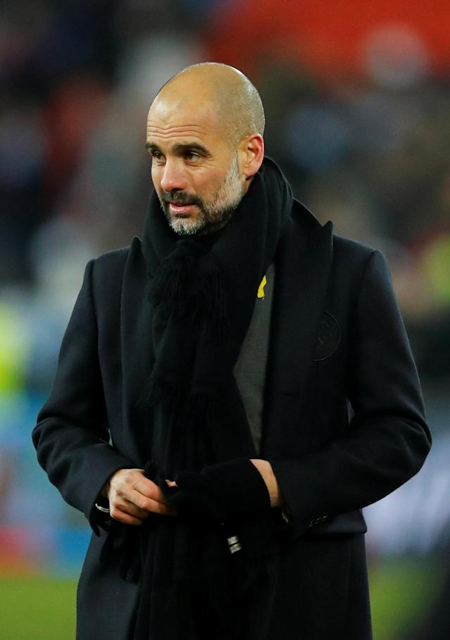 Soccer Football - Champions League - Basel vs Manchester City - St. Jakob-Park, Basel, Switzerland - February 13, 2018 Manchester City manager Pep Guardiola after the match REUTERS/Denis Balibouse