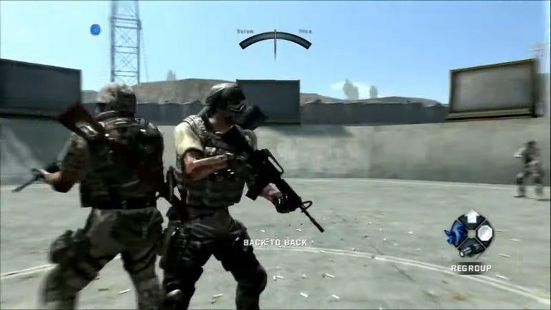 A pair of shoulders go back-to-back in a screen from EA's Army of Two.