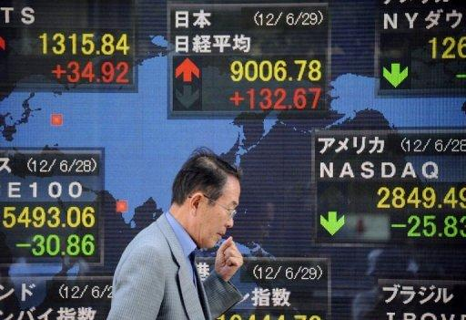 A pedestrian walks past an electronic stock price indicator in the window of a securities company in Tokyo. Asian markets mostly rose Tuesday and the euro firmed on hopes that central banks in the United States and Europe would take action to boost their sluggish economies after a stream of negative data