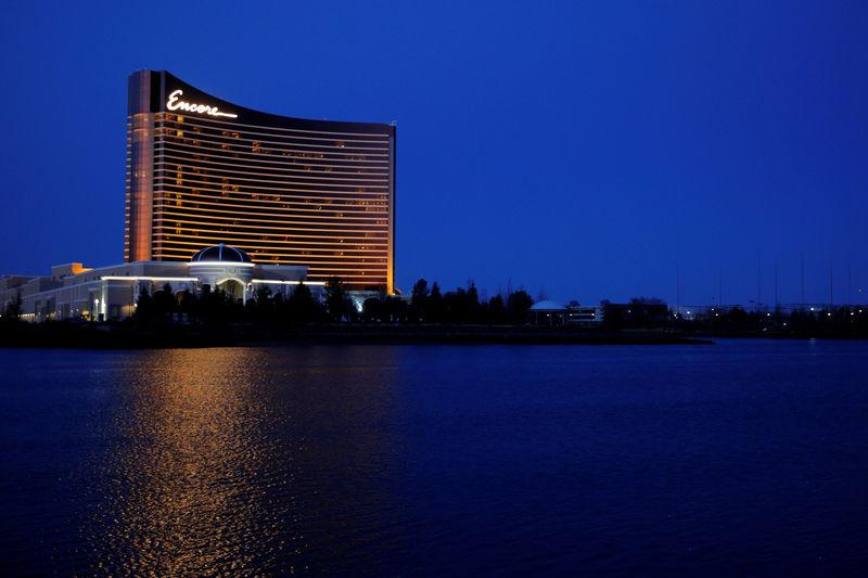 FILE PHOTO: The Encore Boston Harbor, built by Wynn Resorts, stands beside the Mystic River in Everett