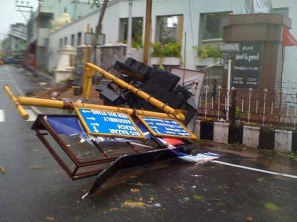 Collapsed signposts are seen in Puducherry after Cyclone Thane wreaked destruction in Puducherry December 31. Photo by Yahoo! reader Sri Prakash