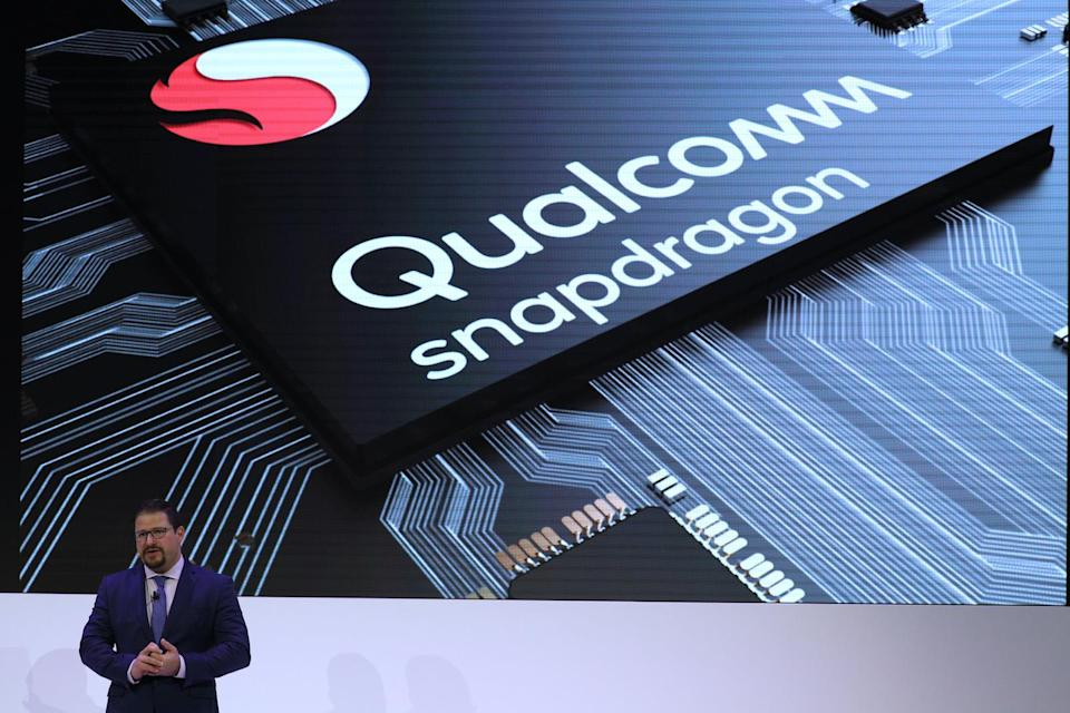 Cristiano Amon, President of Qualcomm Incorporated, delivers a presentation during the Mobile World Congress in Barcelona, Spain, February 26, 2018. REUTERS/Sergio Perez - UP1EE2Q0QW7CA
