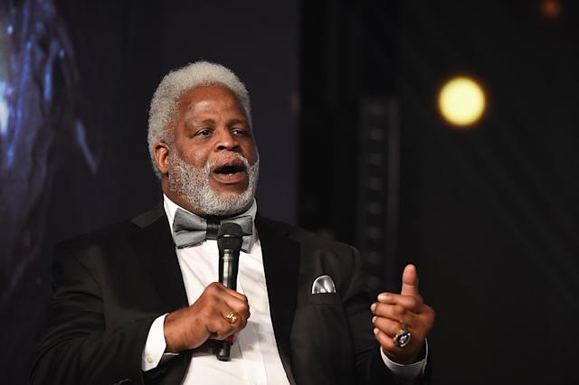 Earl Campbell speaks during the Houston Sports Awards on February 8, 2018 in Houston, Texas. (Photo by Cooper Neill/Getty Images for Houston Sports Awards)