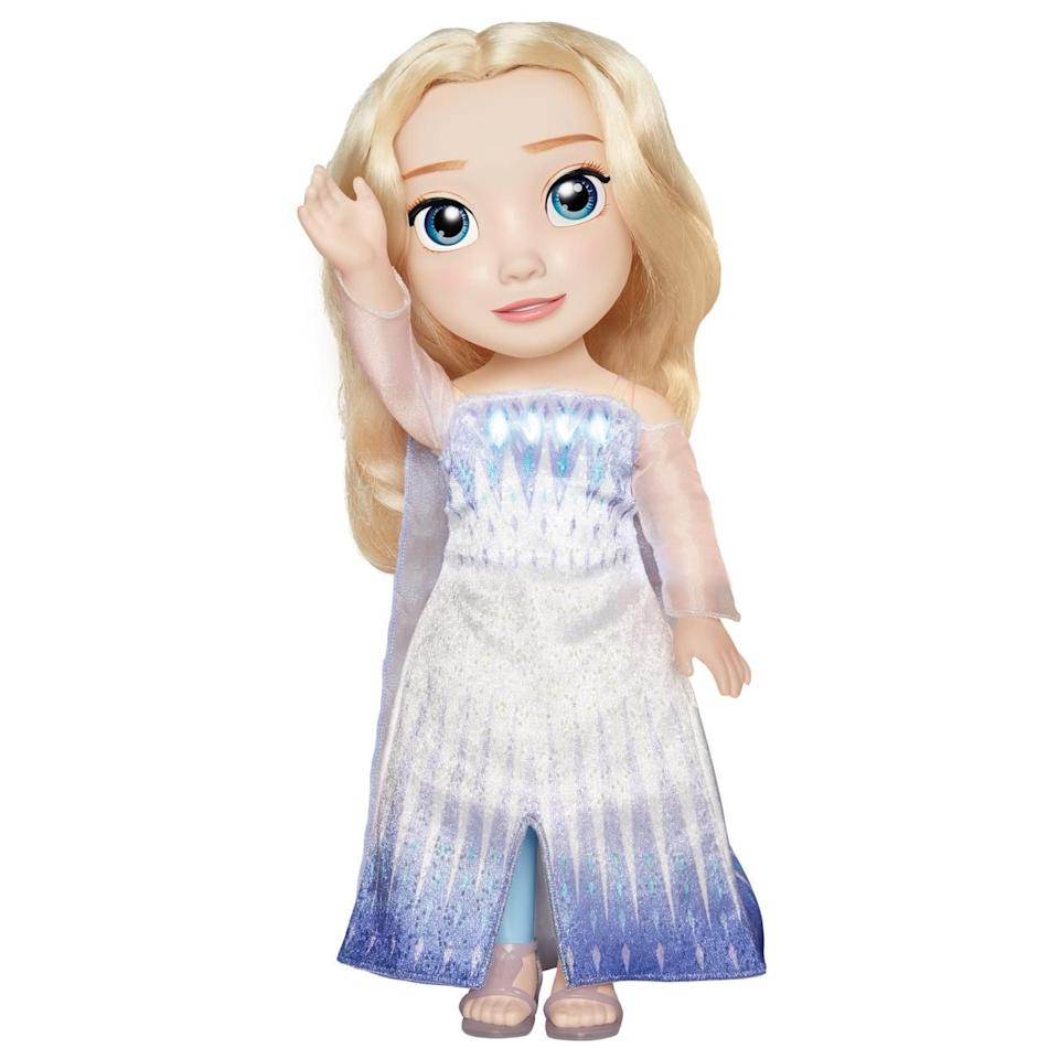 """<p><strong>Frozen 2</strong></p><p>walmart.com</p><p><strong>$59.00</strong></p><p><a href=""""https://go.redirectingat.com?id=74968X1596630&url=https%3A%2F%2Fwww.walmart.com%2Fip%2F578754389&sref=https%3A%2F%2Fwww.bestproducts.com%2Fparenting%2Fg34074265%2Fwalmart-top-toys-of-2020%2F"""" target=""""_blank"""">Shop Now</a></p><p>If you thought the <em>Frozen </em>hype<em> </em>had thawed out by now, it hasn't! With the second installment of the film premiering last year, you can expect this Queen Elsa doll to top their holiday wish list. This doll takes belting out the classic tunes to a new level, with synchronized mouth movements and a light show glowing from her dress. </p><p><strong>More:</strong> <a href=""""https://www.bestproducts.com/parenting/a29588624/christmas-toys-on-amazon/"""" target=""""_blank"""">Amazon Swears These Toys Are Going to be Holiday Gold This Year</a></p>"""