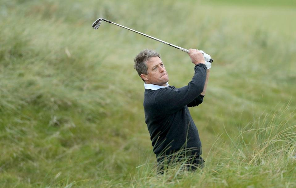 <p>Hugh Grant on the 17th hole during the second round of the Alfred Dunhill Links Championship in 2016.</p>
