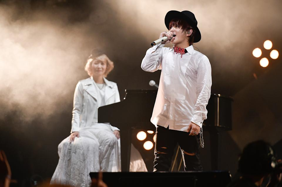 KUALA LUMPUR, MALAYSIA - SEPTEMBER 12:  Hottest Japanese band, SEKAI NO OWARI performs at MTV World Stage Malaysia 2015 on 12 September 2015 in Surf Beach, Sunway Lagoon, Malaysia.  (Photo by Kristian Dowling./Getty Images)