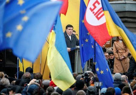 Former Georgian President and former governor of Odessa region Saakashvili attends anti-government and in support of him rally in central Kiev