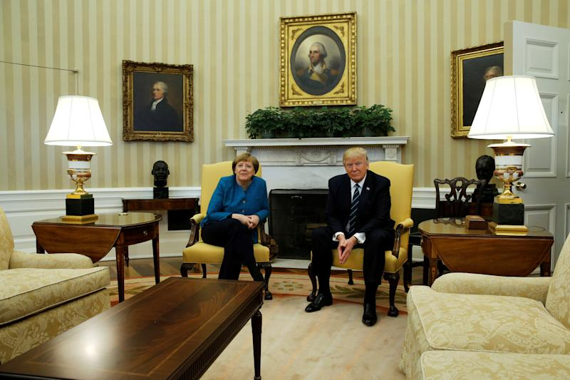 U.S. President Donald Trump meets with Germany's Chancellor Angela Merkel in the Oval Office at the White House in Washington, U.S. March 17, 2017. REUTERS/Jonathan Ernst