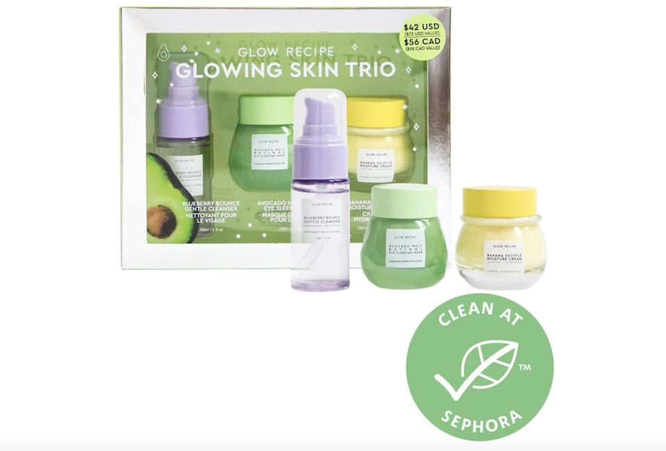 <p>Your skin will glow like whoa when you use this <span>Glow Recipe Glowing Skin Trio</span> ($42).</p>