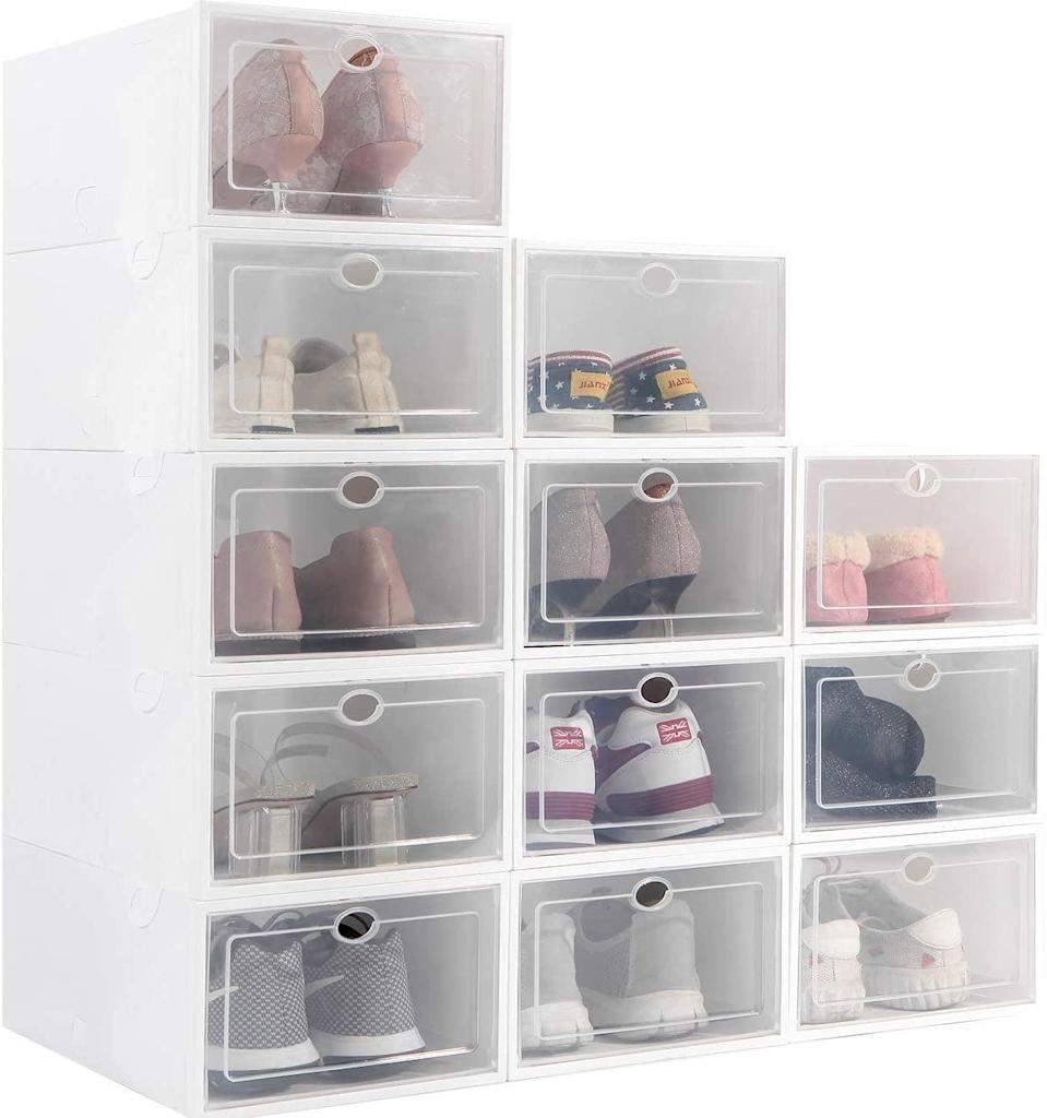 <p>These <span>Stackable Shoe Storage Boxes</span> ($52 for 12) are great because you're able to see every pair.</p>