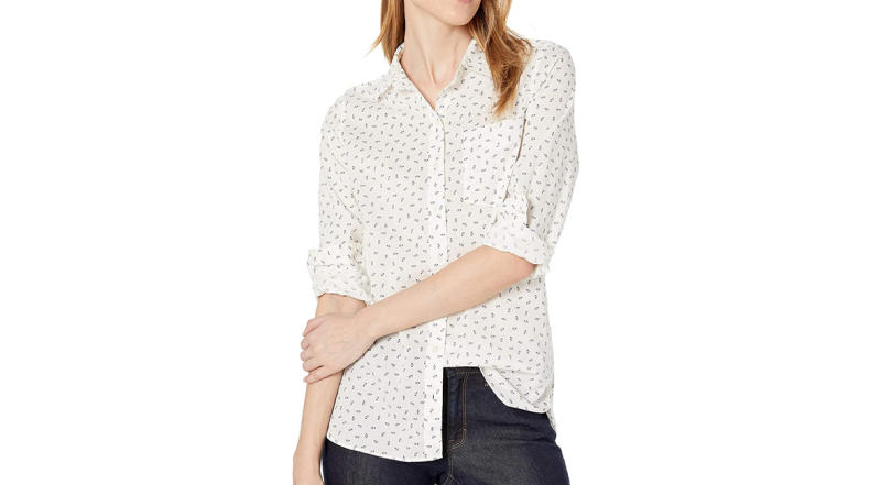 Goodthreads Women's Cotton Dobby Long-Sleeve Button-Front Tunic Shirt (Photo: Amazon)