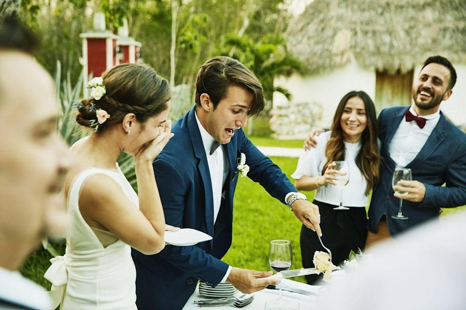 <p>Most couples expect their guests to stay throughout the night, but if you must leave the evening earlier it's appropriate to stay at least until they cut the cake. And don't forget to say goodbye!</p>