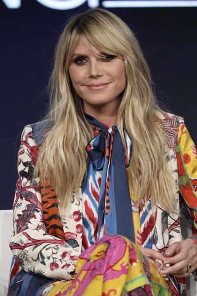 """Heidi Klum appears at the """"Making the Cut"""" panel during the Amazon TCA 2020 Winter Press Tour at the Langham Huntington on Tuesday, Jan. 14, 2020, in Pasadena, Calif. (Photo by Willy Sanjuan/Invision/AP)"""