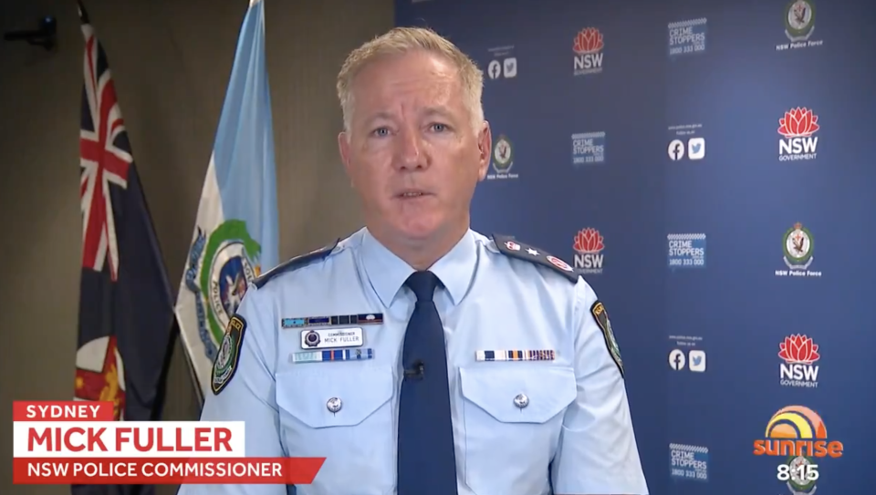 Pictured is NSW Police Commissioner Mick Fuller speaking on Sunrise