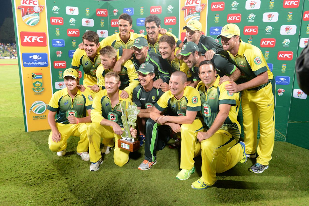 CENTURION, SOUTH AFRICA - MARCH 14: Australia celebrate during the 3rd KFC T20 International match between South Africa and Australia at SuperSport Park on March 14, 2014 in Centurion, South Africa. (Photo by Lee Warren/Gallo Images/Getty Images)