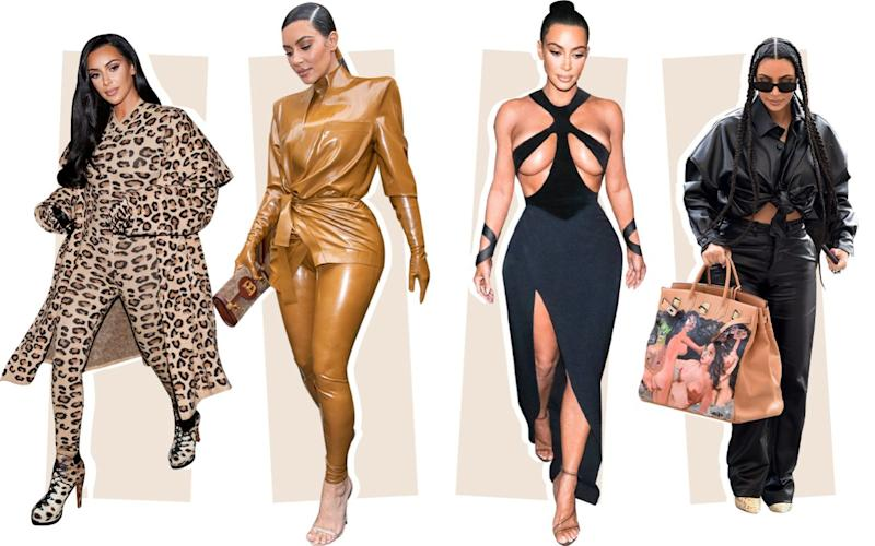 Kim Kardashian has made curves, leggings and revealing silhouettes her style signature - Getty
