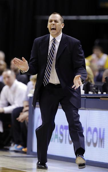 Indiana Pacers head coach Frank Vogel questions a call in the first half of Game 2 of a first-round NBA basketball playoff series against the Atlanta Hawks in Indianapolis, Wednesday, April 24, 2013. (AP Photo/Michael Conroy)