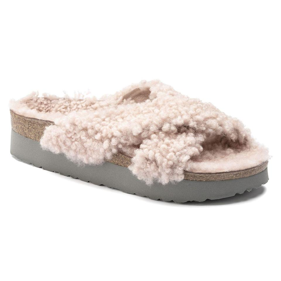 "<p><strong>Birkenstock</strong></p><p>birkenstock.com</p><p><strong>$170.00</strong></p><p><a href=""https://www.birkenstock.com/us/daytona-shearling/daytona-teddyshearling-fell-0-eva-w_1490.html#lang=en_US&q=shearling"" rel=""nofollow noopener"" target=""_blank"" data-ylk=""slk:Shop Now"" class=""link rapid-noclick-resp"">Shop Now</a></p><p>Now you actually <em>can </em>wear your Birkenstocks in the winter.</p>"