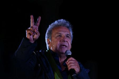Lenin Moreno, presidential candidate of the ruling PAIS Alliance Party gives a speech at the closing campaign rally in Quito