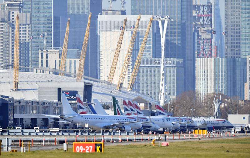 Planes on the apron at London City Airport which has been closed after the discovery of an unexploded Second World War bomb.
