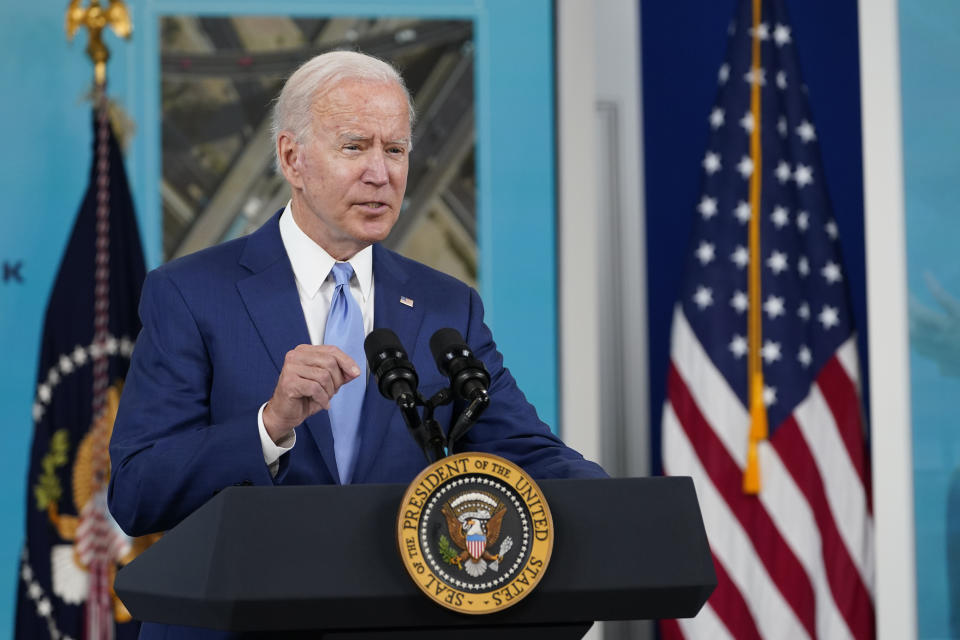 President Joe Biden speaks about the September jobs report, Friday, Oct. 8, 2021, from the South Court Auditorium on the White House campus in Washington. (AP Photo/Susan Walsh)