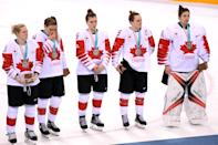 <p>Players from Team Canada react after being defeated by Team United States 3-2 in the overtime penalty-shot shootout during the Women's Gold Medal Game on day thirteen of the PyeongChang 2018 Winter Olympic Games at Gangneung Hockey Centre on February 22, 2018 in Gangneung, South Korea. (Photo by Harry How/Getty Images) </p>
