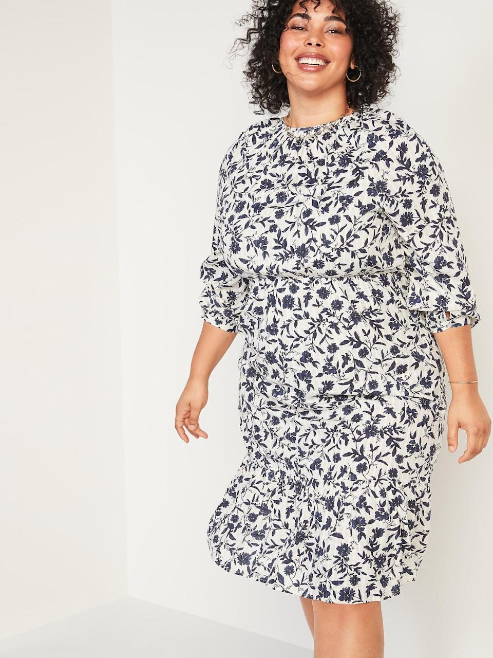 <p>Pair this <span>Floral-Print Midi Dress</span> ($40, originally $43) with a denim jacket and booties and you're ready for your weekend brunch.</p>