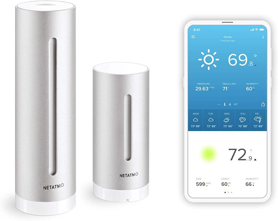 """<h2>Netatmo Wireless Indoor-Outdoor Weather Station</h2><br><strong>Best For: Allergens </strong><br>If you're tired of the incorrect forecasts featured on the basic weather app then this wellness gadget is for you. Sure, it describes what the weather is like outside. More <em>importantly</em>, it informs you of your indoor environment. With real-time notifications, the humidity, noise levels, barometric pressure, and air quality of your home is monitored and analyzed. Genius, right? <br><br>Allow this smart little tool to send alerts so when necessary. Connect it to Siri or Alexa to ask, """"Hey, how's my air quality in the bedroom today?"""" <br><br><strong>Netatmo</strong> Netatmo Wireless Indoor-Outdoor Weather Sensor, $, available at <a href=""""https://www.amazon.com/Netatmo-Weather-Station-Wireless-Compatible/dp/B0095HVAKS"""" rel=""""nofollow noopener"""" target=""""_blank"""" data-ylk=""""slk:Amazon"""" class=""""link rapid-noclick-resp"""">Amazon</a>"""