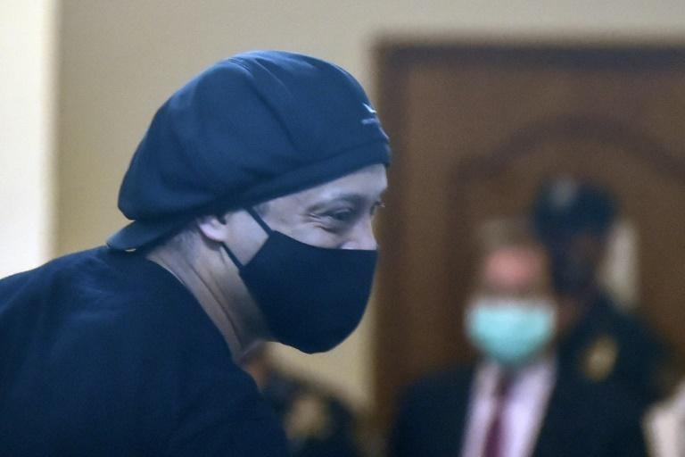 Ronaldinho during his hearing at Asuncion's Justice Palace in Paraguay