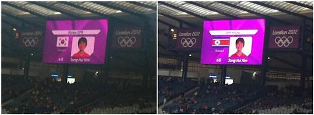 KOREA FLAG MISHAP: A combination photo shows the South Korea (L) flag displayed beside North Korea soccer player Song Hui Kim, and the North Korea (R) flag beside the same player after it was changed before the start of the women's Olympic soccer match between North Korea and Colombia at the London 2012 Olympic Games in Hampden Park, Glasgow, Scotland July 25, 2012. A major diplomatic incident marred the first day of competition at the London Olympics on Wednesday when the North Korea women's football team walked off after the South Korea flag was mistakenly displayed before their match against Colombia.