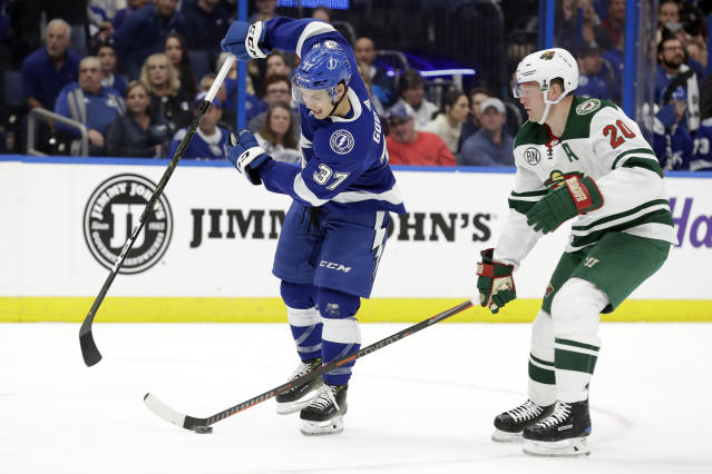 Minnesota Wild defenseman Ryan Suter (20) strips the puck away from Tampa Bay Lightning center Yanni Gourde (37) during the second period of an NHL hockey game Thursday, March 7, 2019, in Tampa, Fla. (AP Photo/Chris O'Meara)