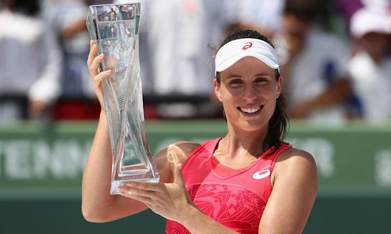 Johanna Konta shows off the Miami Open trophy after beating Caroline Wozniacki in the final in April to move up to No7 in the world