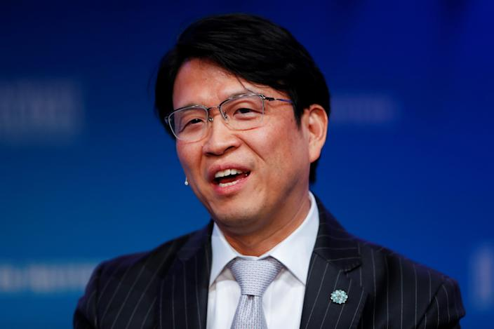 Hiromichi Mizuno Executive Managing Director and Chief Investment Officer at Government Pension Investment Fund in Japan and Co-Chair at Global Capital Markets Advisory Council for Milken Institute, speaks during the Milken Institute's 22nd annual Global Conference in Beverly Hills, California, U.S., May 1, 2019.