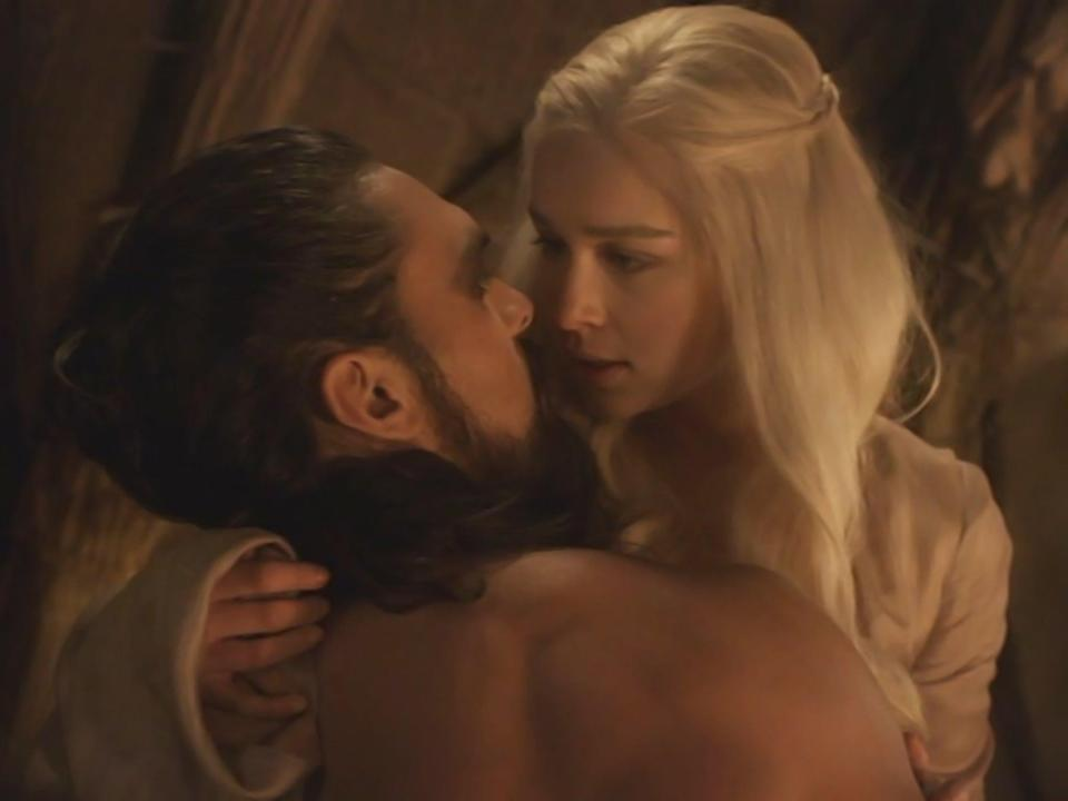 Jason Momoa and Emilia Clarke in the controversial rape scene in the first season of 'Game of Thrones' (HBO)