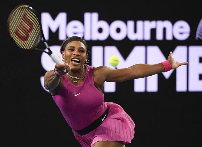 United States' Serena Williams makes a forehand return to compatriot Danielle Collins during a tuneup event ahead of the Australian Open tennis championships in Melbourne, Australia, Friday, Feb. 5, 2021.(AP Photo/Andy Brownbill)