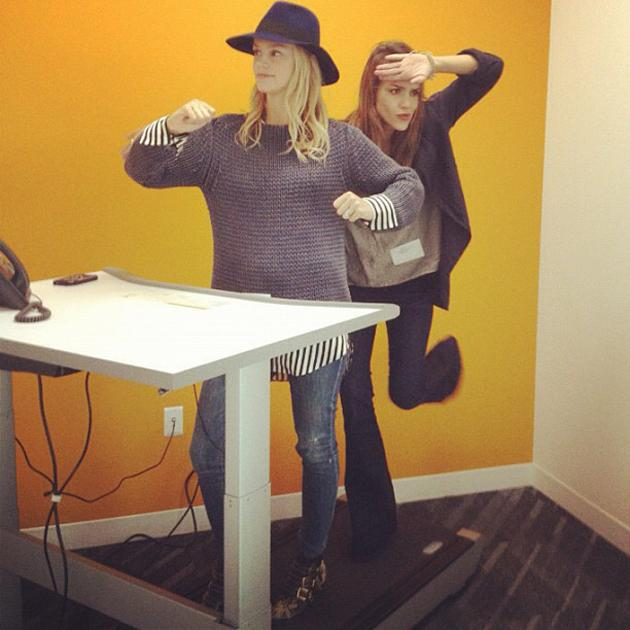 Celebrity photos: Jessica Alba made a trip to Facebook HQ this week and seemed to be having fun on the treadmill desk. Looks like a bit too much hard work to us.