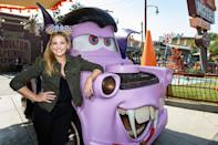 <p>Sarah Michelle Gellar sports mouse ears in Cars Land while celebrating Halloween Time at Disneyland Park in Anaheim, Calif., on Sept. 25.</p>